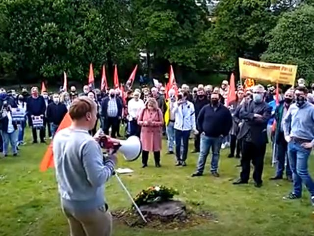 Protesters in Tollcross Park, Glasgow
