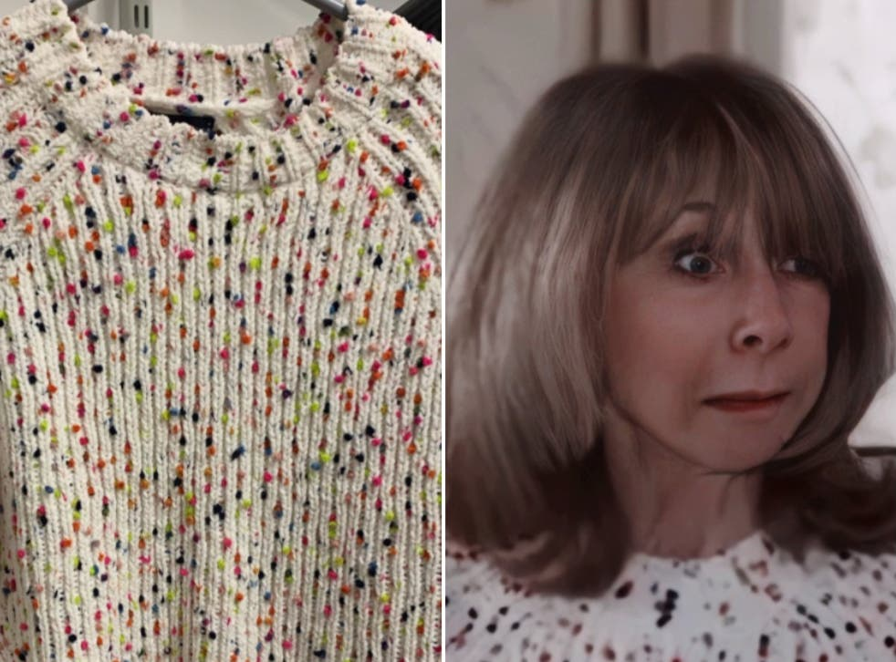 <p>(Left) The jumper that was returned (right) Gail Platt wearing the jumper during Monday's episode of Corrie</p>