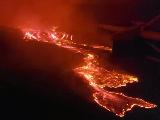 Lava flowing from Mount Niyaragongo after the volcano erupted on Saturday