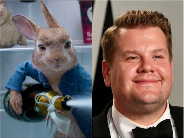 Peter Rabbit (left) and James Corden (right)