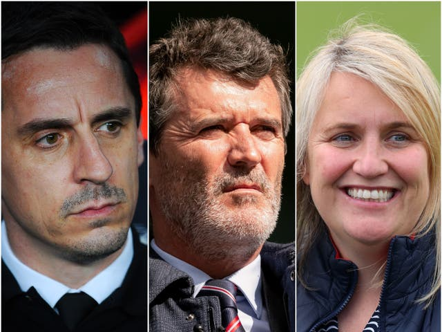 Gary Neville, Roy Keane and Emma Hayes (L-R)