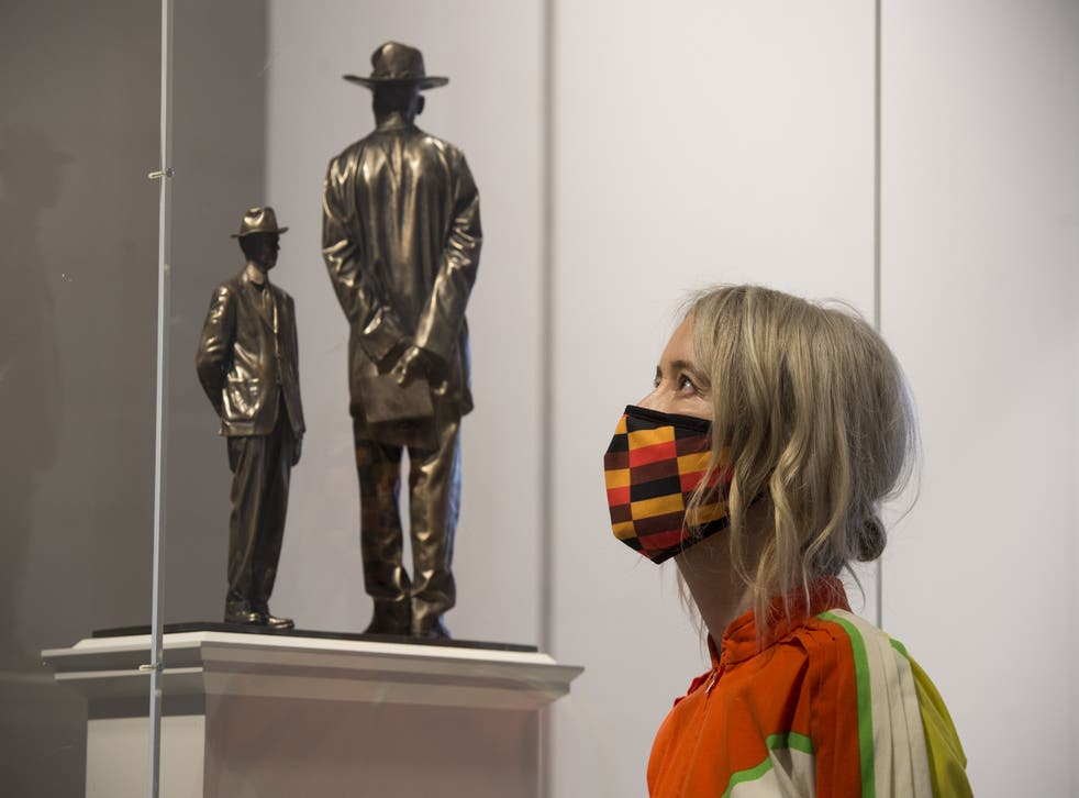 Deputy mayor Justine Simons looks at Antelope by Samson Kambalu at the National Gallery
