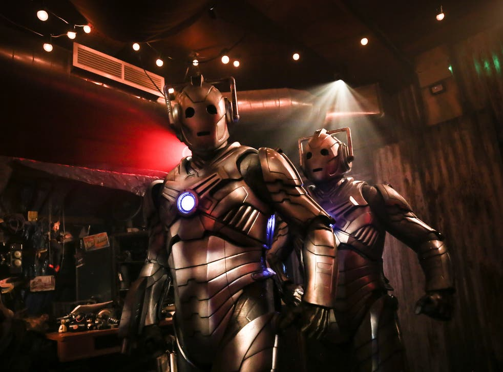 <p>Steel yourself: Two Cybermen photographed during dress rehearsals for 'Doctor Who: Time Fracture'</p>