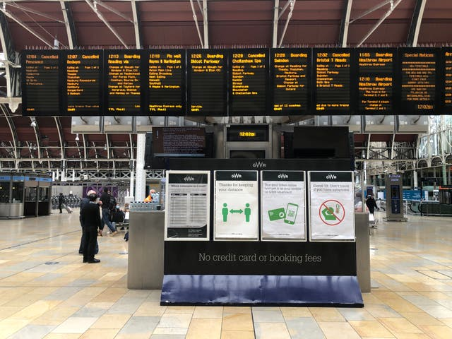 Missing persons: a near-empty Paddington station in London