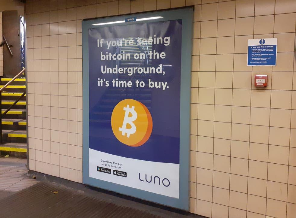 Luno posters featured a cartoon image of a Bitcoin and read: 'If you're seeing Bitcoin on the Underground, it's time to buy'