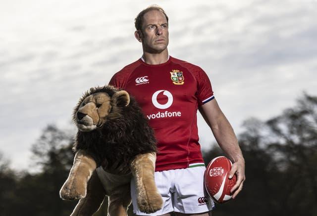 Lions captain Alun Wyn Jones holds the mascot