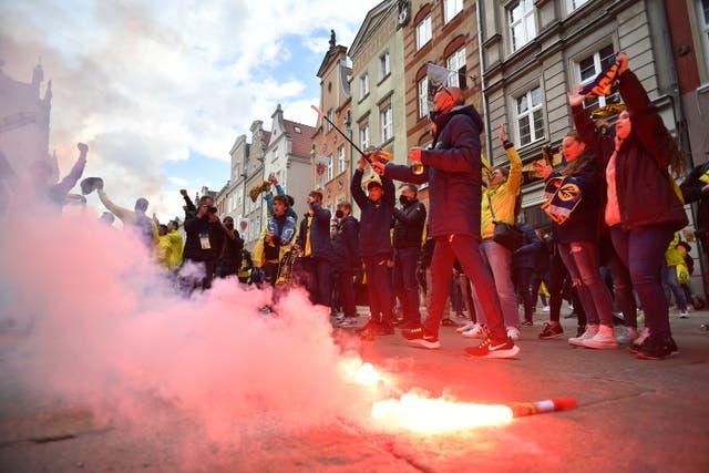 Villarreal fans with flares in Gdansk