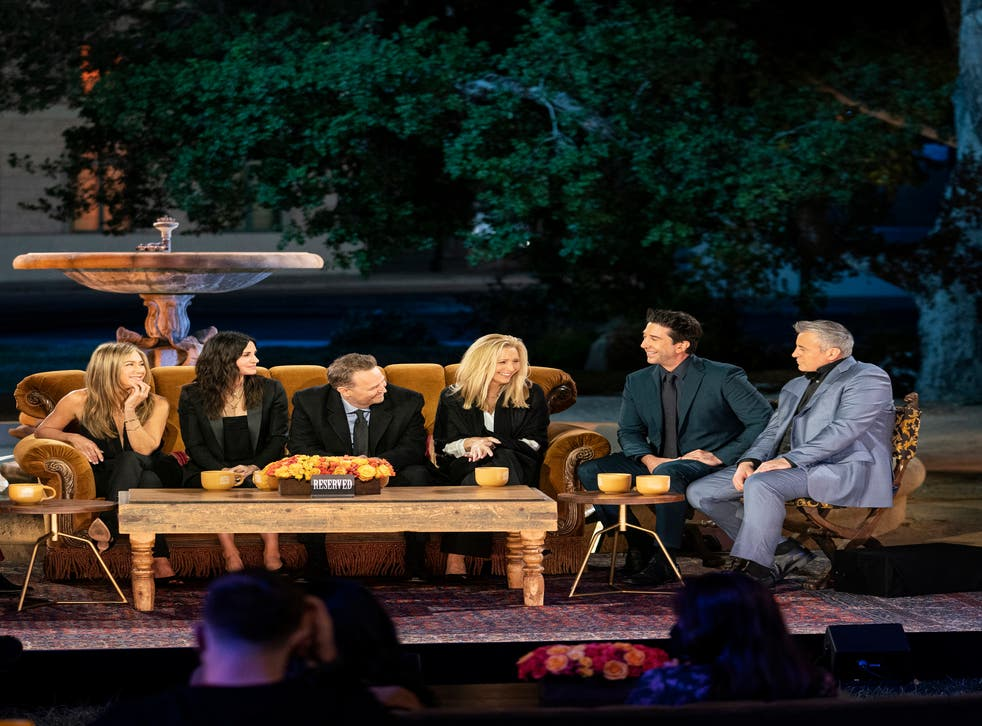 """<p>Jennifer Aniston, from left, Courteney Cox, Matthew Perry, Lisa Kudrow, David Schwimmer and Matt LeBlanc in a scene from the """"Friends"""" reunion special</p>"""