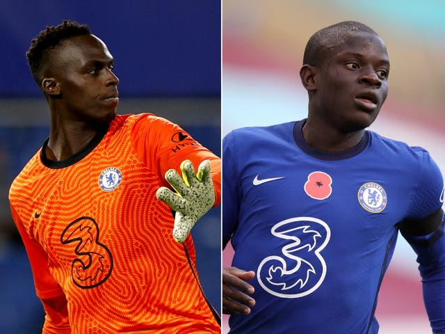 Chelsea keeper Edouard Mendy (left) and midfield N'Golo Kante have trained with teir team-mates ahead of Saturday's Champions League final