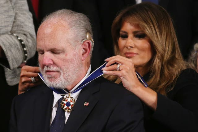 Radio personality Rush Limbaugh reacts as First Lady Melania Trump gives him the Presidential Medal of Freedom