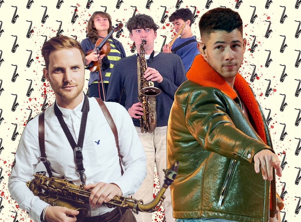 <p>Blowhards: New players such as Brendan Mills, left, and Lewis Evans, centre are bringing the saxophone back in from the cold</p>