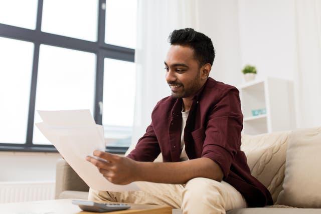 Man researching loans