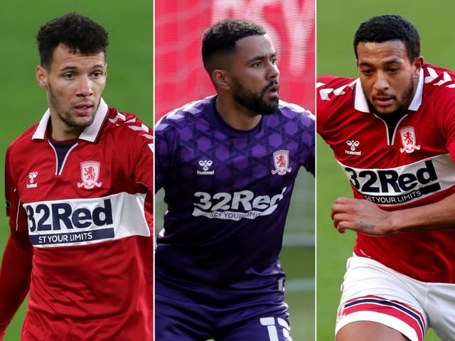 Marvin Johnson (left), Jordan Archer (centre) and Nathaniel Mendez-Laing (right) have been released by Middlesbrough