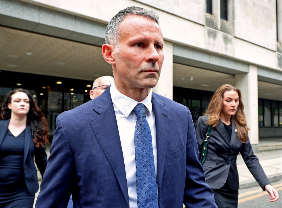<p>Former Manchester United footballer Ryan Giggs leaves Manchester Crown Court</p>