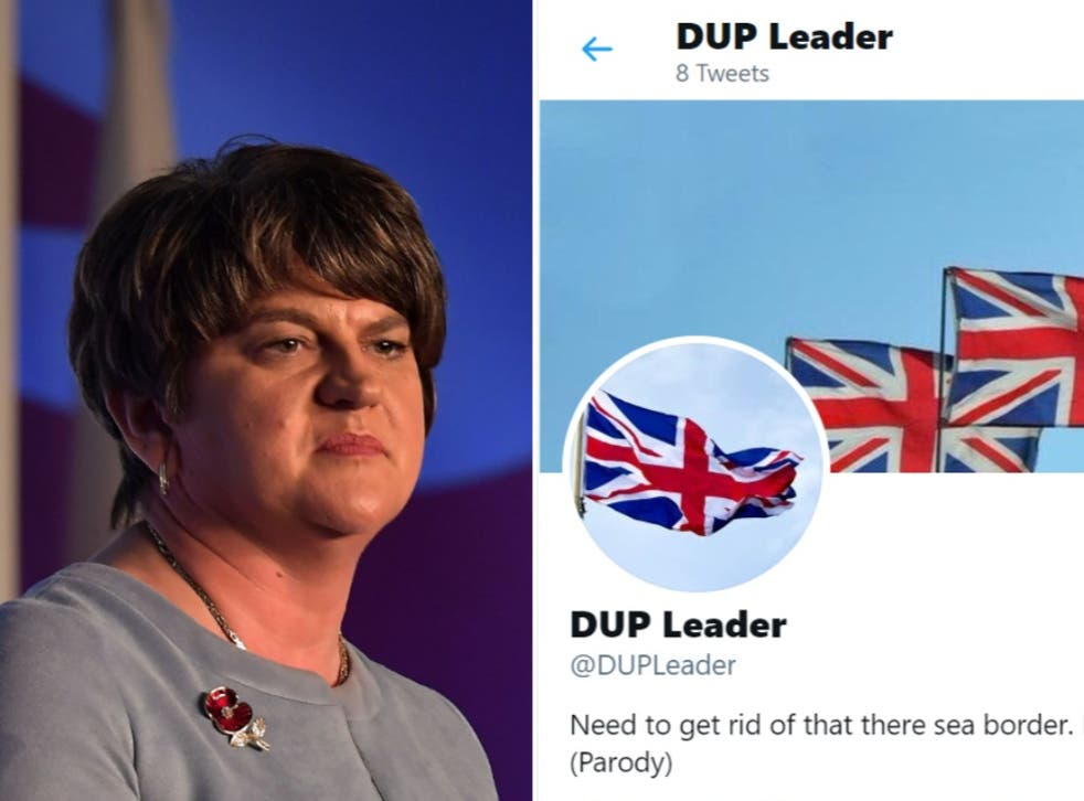 <p>(Left) Former DUP Leader Arlene Foster. (Right) The parody account that managed to get the @DUPLeader Twitter handle</p>