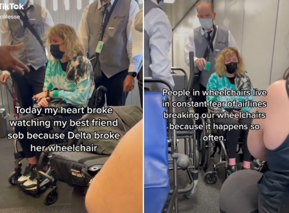 <p>DeFiebre was heartbroken to find out her wheelchair had been damaged</p>