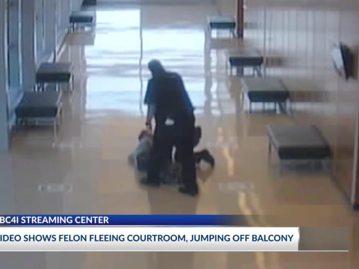 Felon flings himself off sixth-floor balcony and flees sentencing