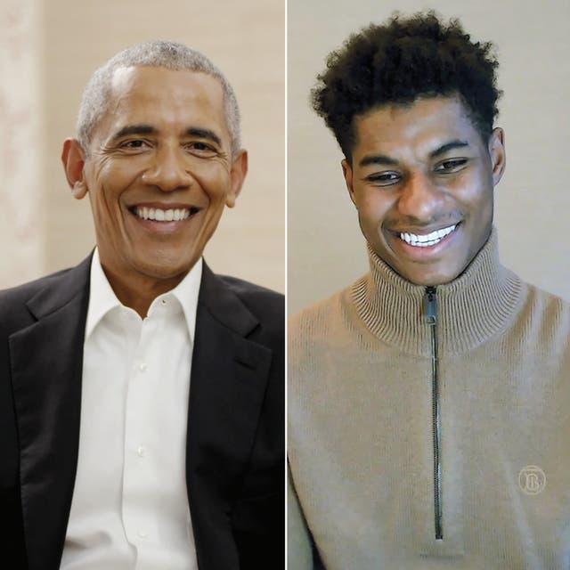 <p>El presidente Barack Obama (izquierda) y Marcus Rashford en conversación sobre Zoom</p>