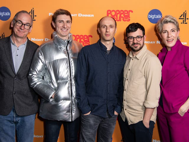 <p>Paul Ritter, Tom Rosenthal, Robert Popper, Simon Bird, and Tamsin Greig at a Friday Night Dinner photocall on 9 March 2020 in London</p>