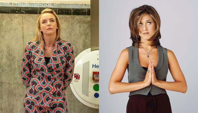 Composite of Villanelle from Killing Eve and Rachel Green from Friends