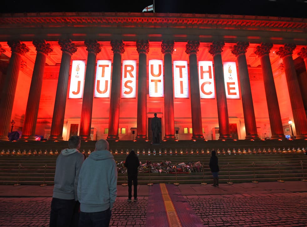 <p>Liverpool's St George's Hall is lit up after the verdict of unlawful killing at the Hillsborough Inquest is announced</p>