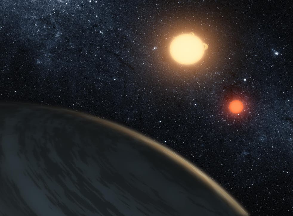 <p>Artist's concept of Kepler-16b – first planet around a double-star system – discovered using Nasa's Kepler space telescope</p>