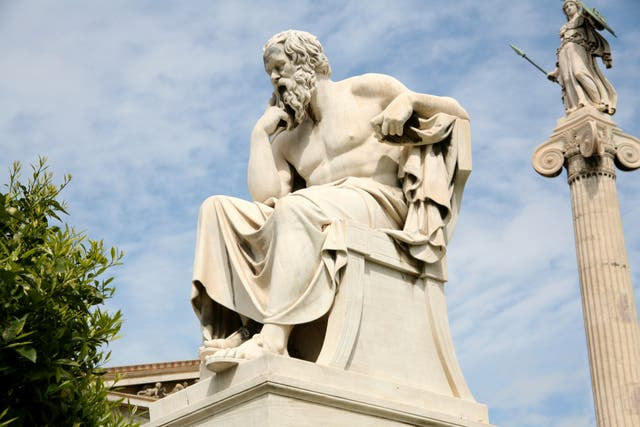 <p>The examined life:  Socrates's statue outside the Academy of Athens in Greece</p>