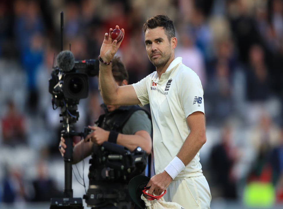 James Anderson celebrates a five-wicket haul against India at Lord's in 2018