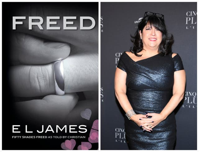 <p>The cover of Freed and author EL James</p>
