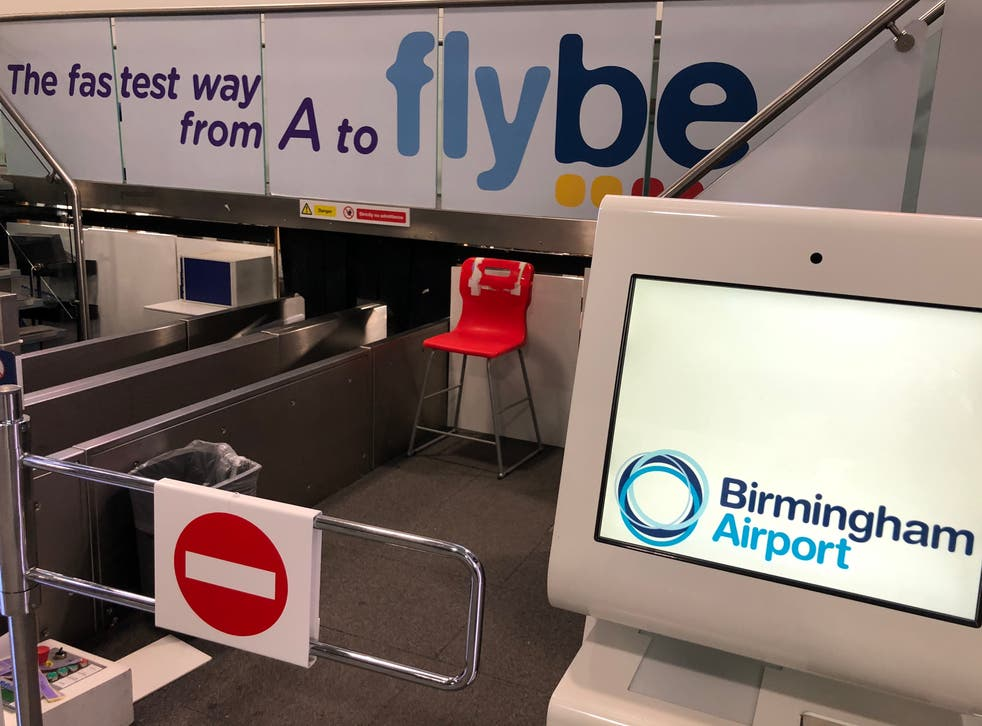 <p>No way: Flybe check-in desks at Birmingham airport on the day the airline collapsed</p>