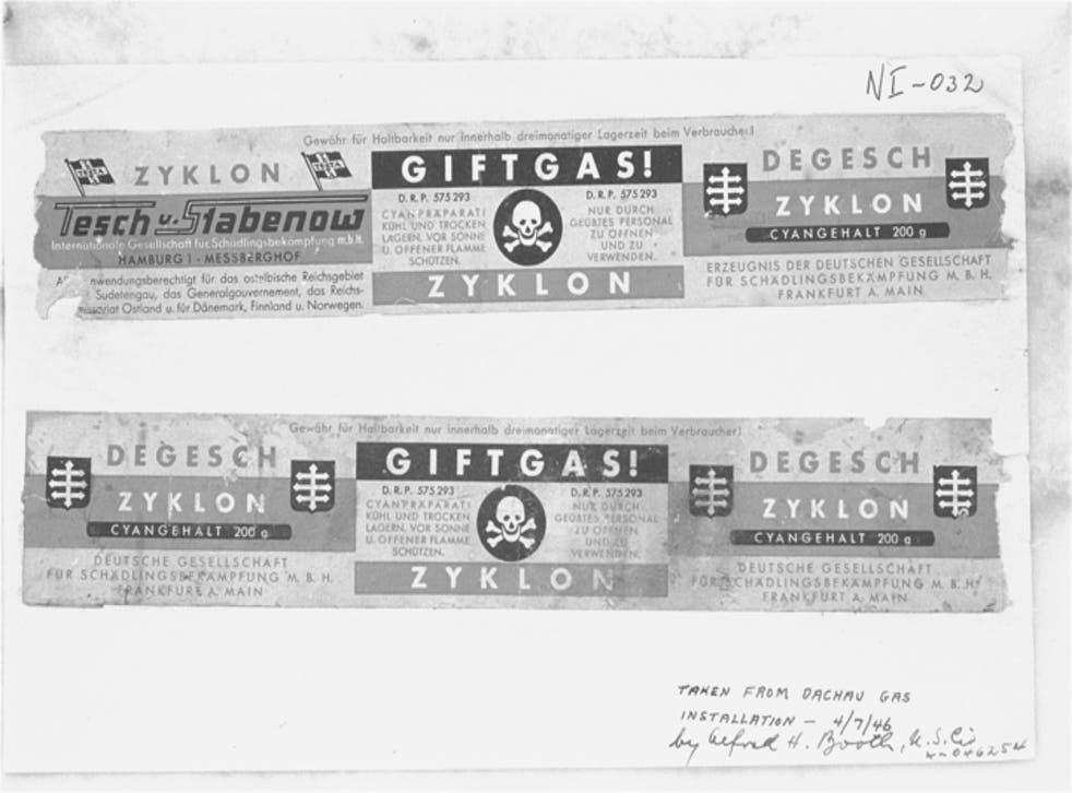 <p>Zyklon labels from Dachau concentration camp used as evidence at the Nuremberg trials; the first and third panels contain manufacturer information and the brand name, the centre panel reads 'Poison Gas! Cyanide preparation to be opened and used only by trained personnel'</p>