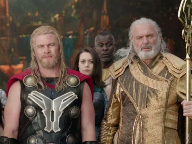 <p>Luke Hemsworth and Sam Neill as Asgardian actors in Thor: Ragnarok</p>