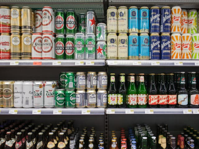 <p>A selection of beers at a supermarket</p>