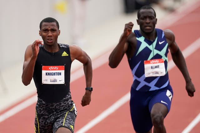 <p>Erriyon Knighton (pictured in May) broke Usain Bolt's 200-meter race record on Monday</p>