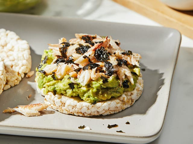 <p>The creaminess of the avocado with the crunch of the rice cake makes this a standout dish.</p>