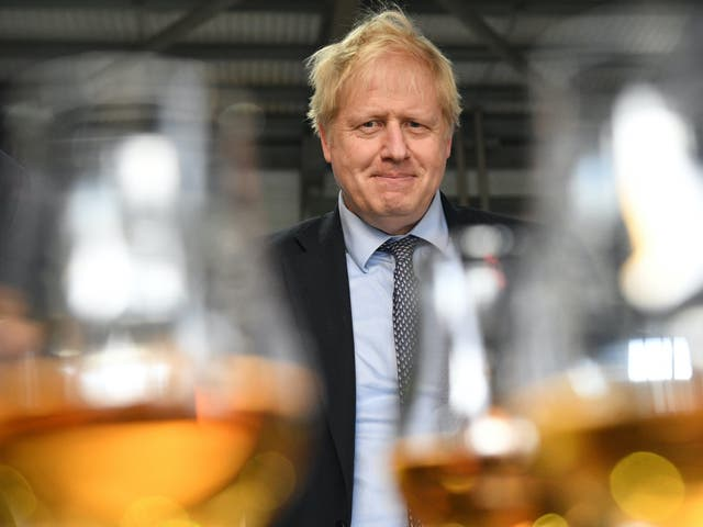 <p>Boris Johnson in an upbeat mood at a whisky distillery today – but there are hard choices to come</p>