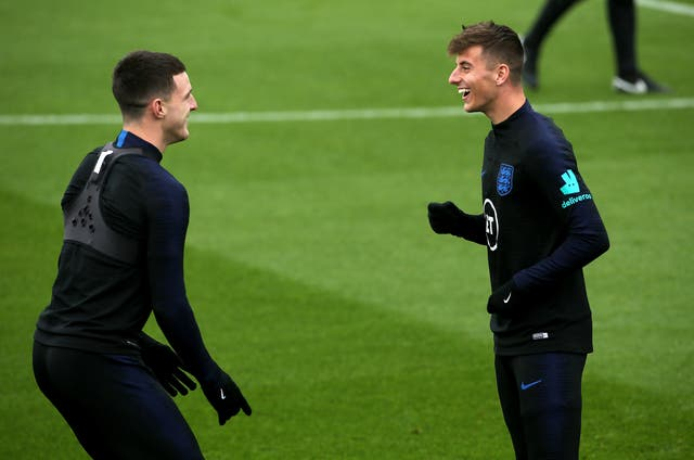 <p>Mason Mount, right, is best friends with England team-mate Declan Rice</p>