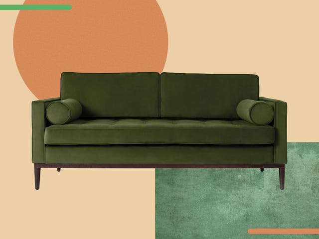 <p>The sofa boasts mid-century shaping with vintage Deco glamour</p>