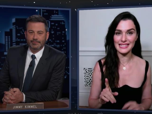 <p>Jimmy Kimmel and Rachel Weisz on Jimmy Kimmel Live</p>