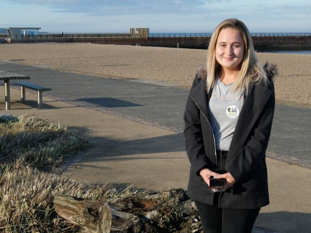 <p>Paige Hunter, from Sunderland, returns to Wearmouth Bridge where she almost took her own life regularly to post messages of hope for other people in mental health crises</p>