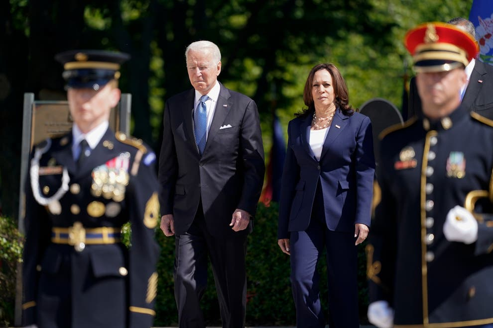 President Joe Biden arrives with Vice President Kamala Harris to place a wreath at the Tomb of the Unknown Soldier at Arlington National Cemetery on Memorial Day, on 31 May, 2021