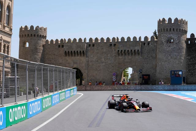 Max Verstappen finished fastest in first practice in Azerbaijan