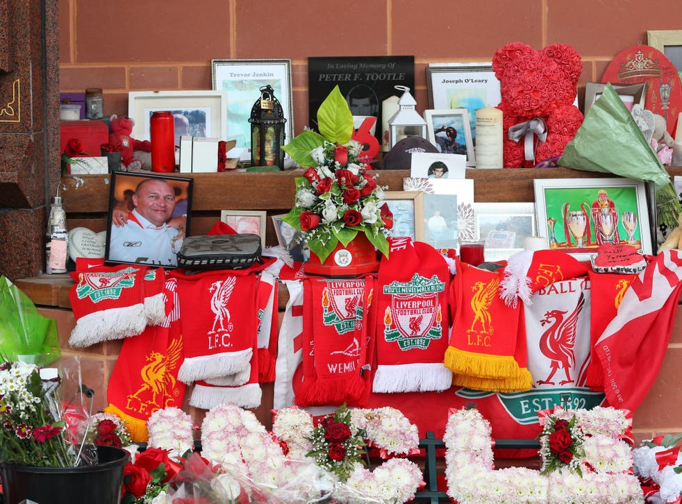<p>Tributes left at the Hillsborough Memorial outside Anfield last month</p>