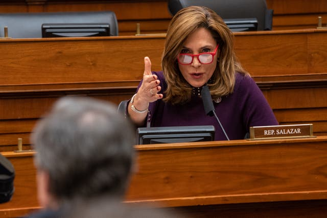 <p>WASHINGTON, DC - MARCH 10:  U.S. Rep. Maria Elvira Salazar (R-FL) questions Secretary of State Antony Blinken during a hearing of the House Committee on Foreign Affairs on Capitol Hill on March 10, 2021 in Washington, DC. </p>