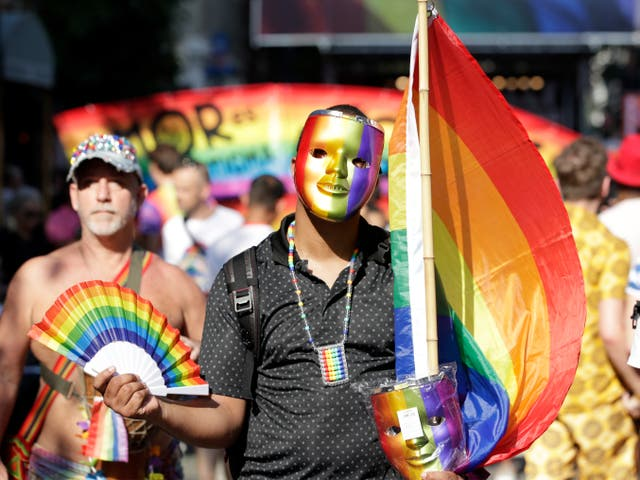 <p>People gather during an event to mark the 50th anniversary of the Stonewall Inn uprising in New York, New York, USA, 28 June 2019. </p>
