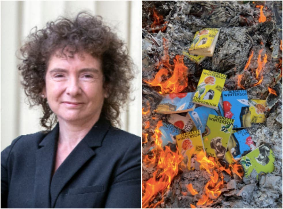 <p>Author Jeanette Winterson shared a photo on social media of copies of her books being burned </p>
