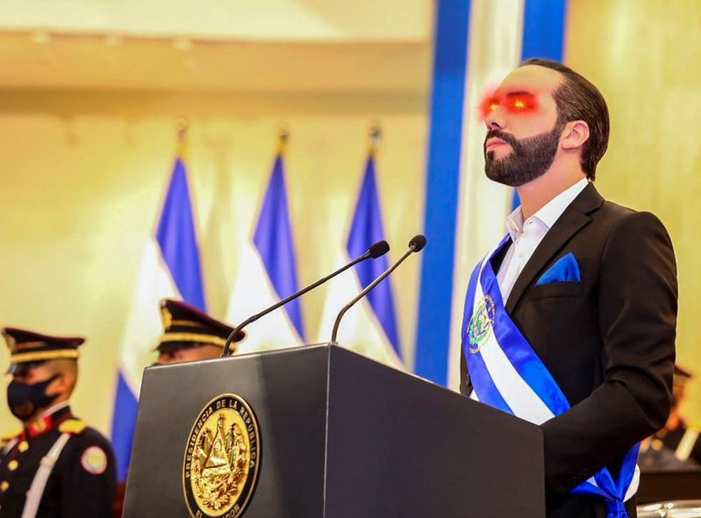 <p>El Salvador President Nayib Bukele updated his Twitter profile pic to include bitcoin laser eyes on 6 June, 2021</p>