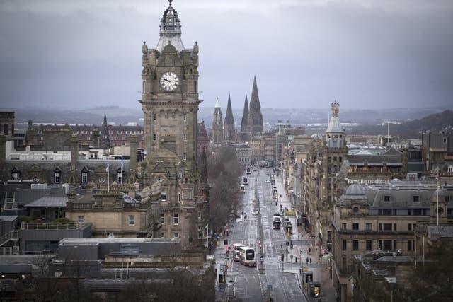 Princes Street, Edinburgh in Scotland