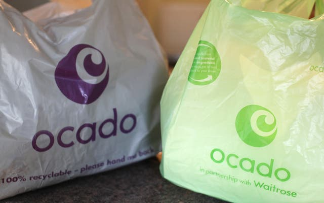 Bags from the home delivery company Ocado