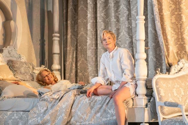 <p>Miah Persson (left) as Marschallin and Hanna Hipp as Octavian in 'Der Rosenkavalier'</p>